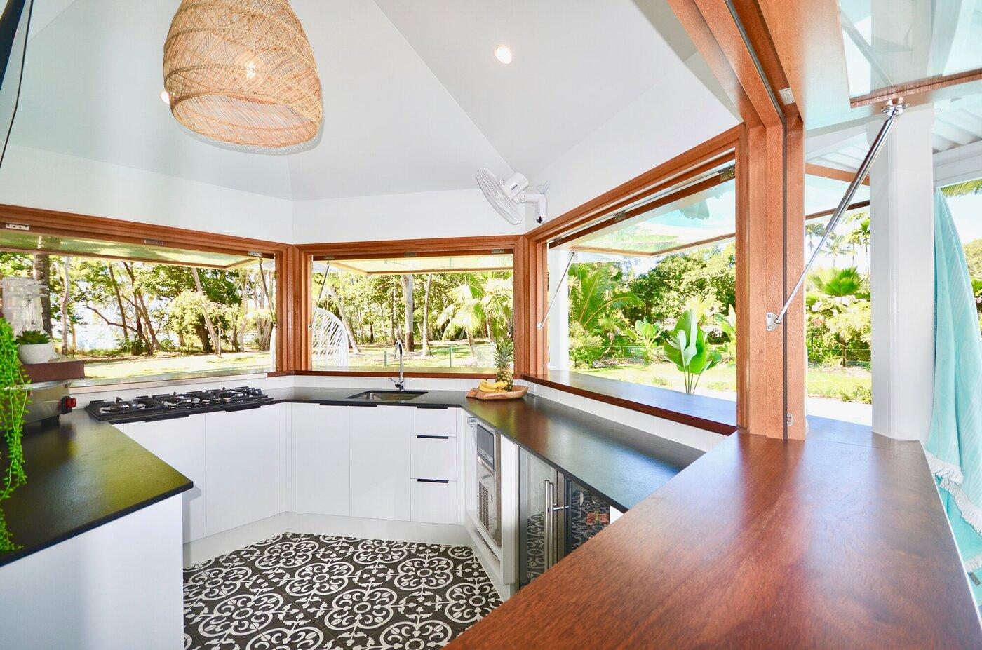 Custom designed pool cabana with full kitchen