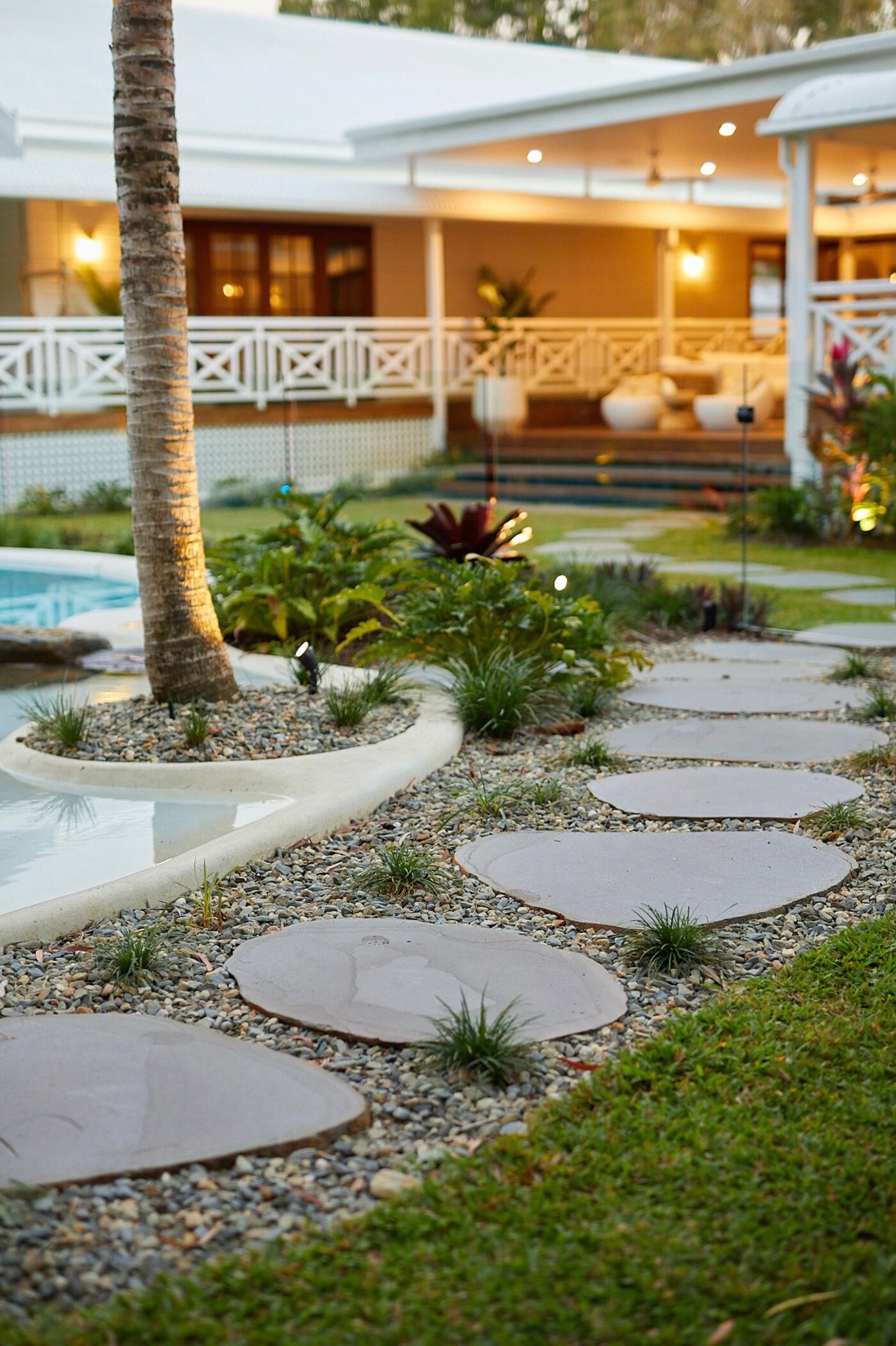 Eco Steppers & Landscaping next to a pool