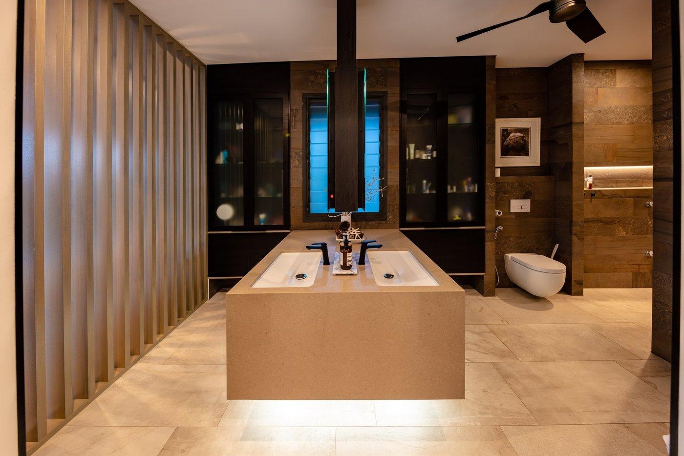Custom designed bathroom with floating vanity