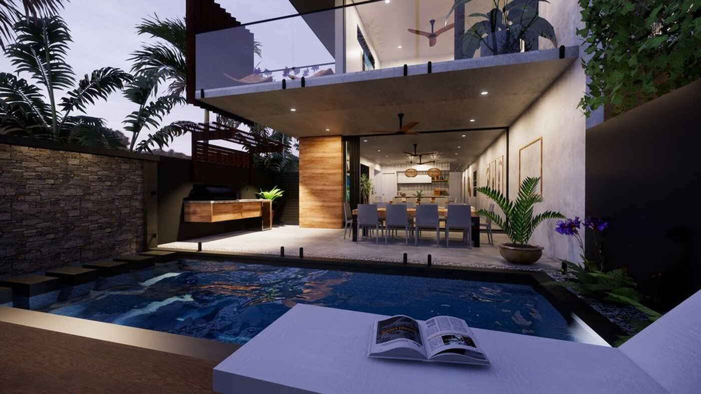 LUXE Development view over pool to alfresco area