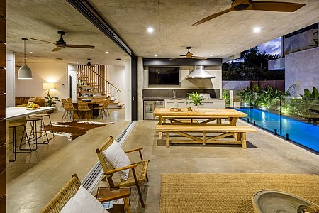 Outdoor kitchen next to pool