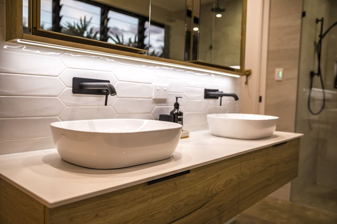 New Bathroom - Twin basins in white with black taps