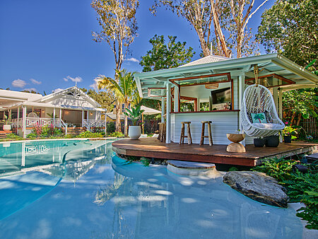 New Pool Cabana with open windows, bar stools & hanging chair