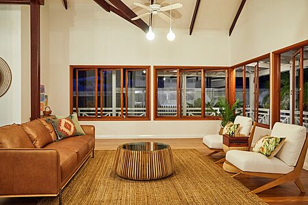 Queenslander Repainted Living Area White with Exposed Beams