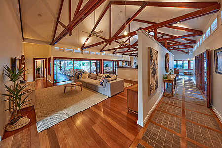 Queenslander Repainted Living Area White with Exposed Beams