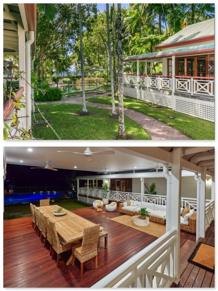 Renovation Before & After Patio showing new deck & roof