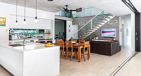 Open plan living & kitchen with pocket sliding doors