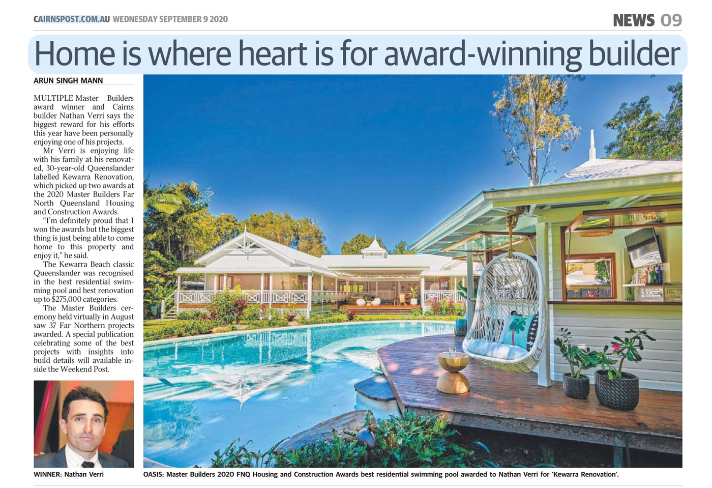 News article with image - Renovated pool cabana overlooking pool to white house in the background